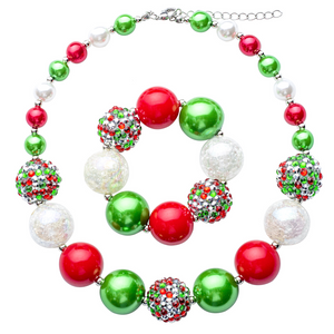 Red, Green & White Chunky Bubblegum Necklace Set