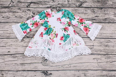 Girl's Spring Flowers & Lace Dress