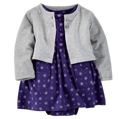 Girl's 2PC Cardigan Sweater Dress Set Gray/Navy Floral