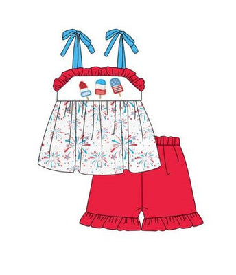 Girl's Patriotic Popsicles 2PC Short Set