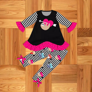 Girl's Heart & Sloth 2PC Tunic Set