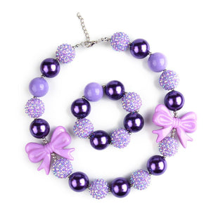 Girl's Chunky Purple Bows Bubblegum Necklace & Bracelet Set
