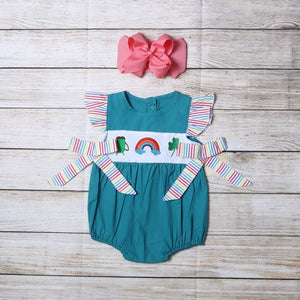 Infant Girl's Lucky Rainbow Romper