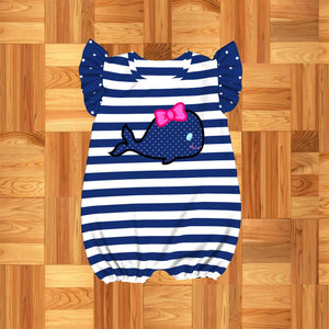 Infant Girl's Blue Whale Romper