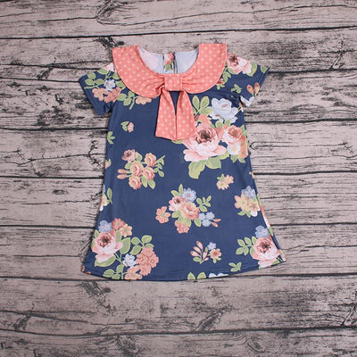Periwinkle Blue & Peach  Floral Dress