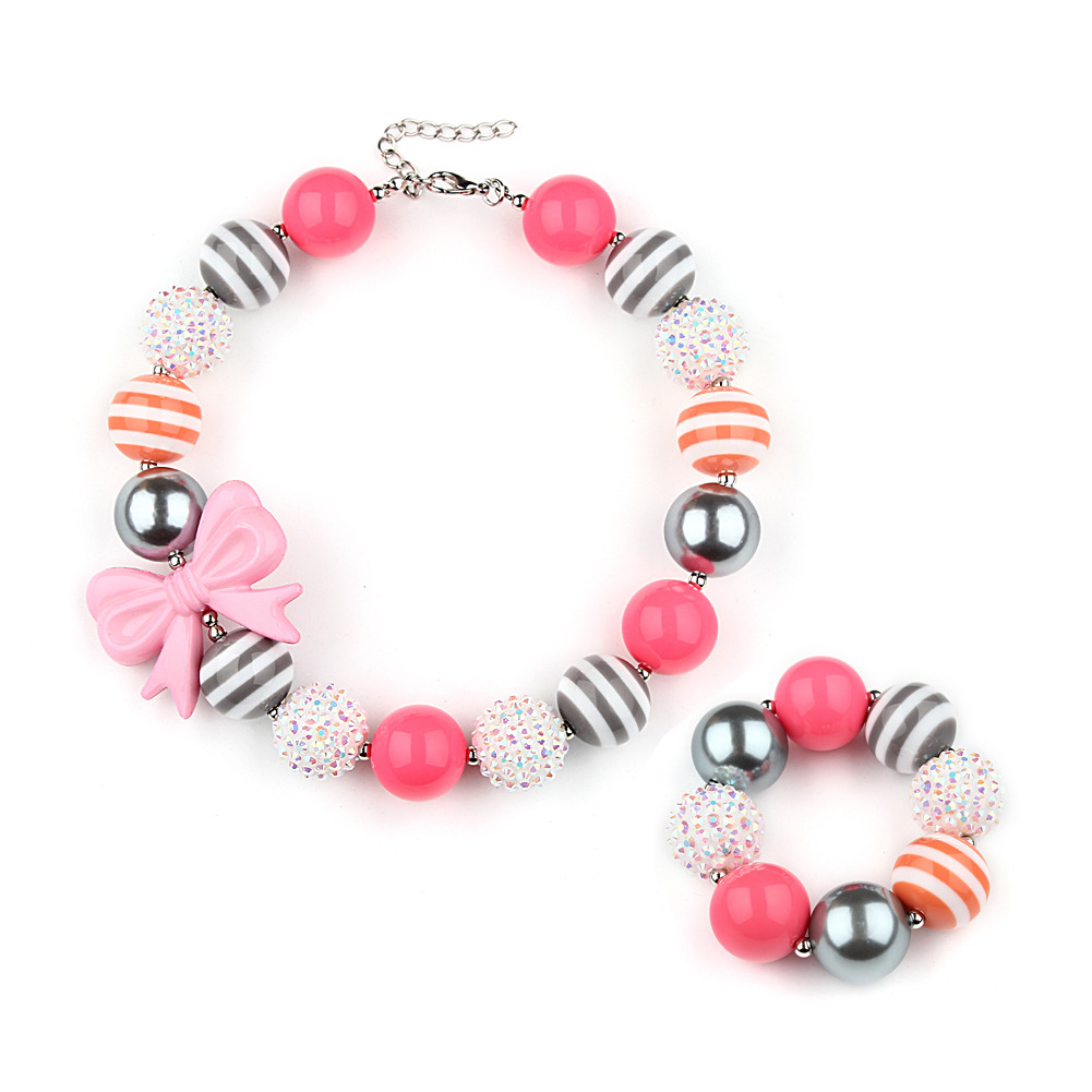 Girl's Chunky Silver & Pink Bow Bubblegum Bracelet & Necklace Set