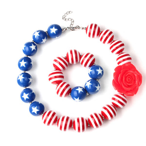 Girl's Red, White and Blue  Chunky Bubble Gum Necklace Set