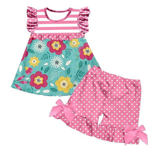 Girl's Hot Pink & Teal Floral Short Set