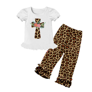 Easter Cross Leopard Print Ruffle Pants Set