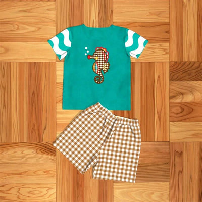 Boy's Teal Seahorse 2PC Short Set