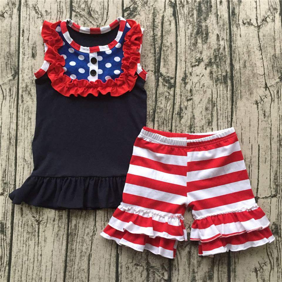 Girl's All American Girl 2PC Ruffled Short Set