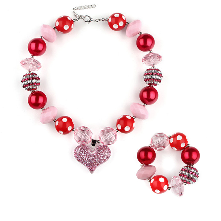 Girl's Chunky Red Hearts Bubble Gum Necklace & Bracelet Set
