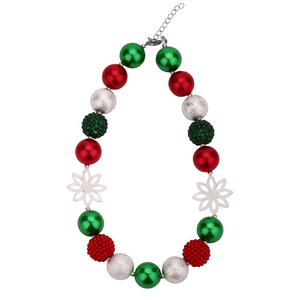 Girl's Christmas Snowflake Chunky Bubble Gum Necklace