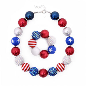 Girl's Chunky Stars & Stripes Bubblegum Necklace Set