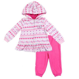 "Girl's ""Pink Hearts"" Microfleece  2PC Jacket Set"