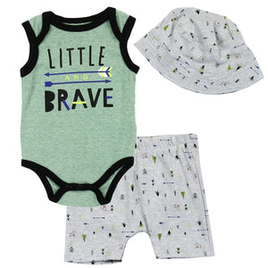 "Infant Boy's ""Little Brave""  3PC Shorts Set"