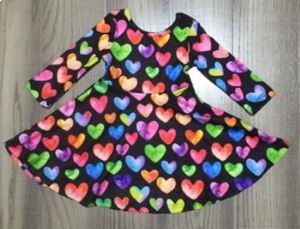Girl's Multi-Colored Heart Twirl Dress