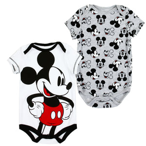 Infant's 2-Pack Black, White, Red & Grey Mickey Mouse Rompers