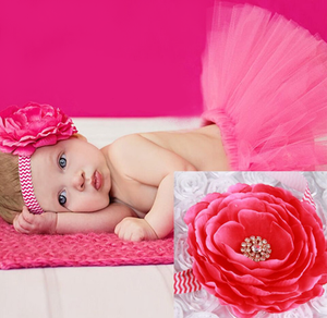 Girl's Infant/Toddler Headband Tutu Set- Hot Pink