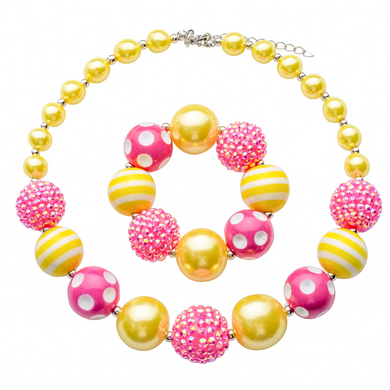 Girl's Chunky Pink & Yellow Bubblegum Necklace Set