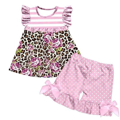 Girl's Floral & Leopard Print Short Set