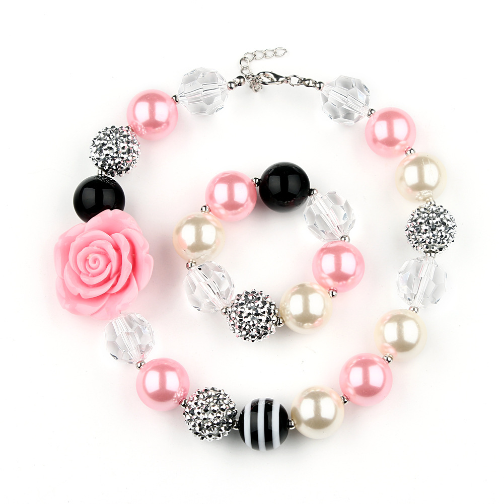 Chunky Pink Rose Bubblegum Necklace Set