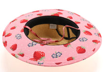 CC Beanie Kids Straw Brim Hat w/Strawberry Print