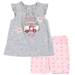 "Baby Girl's 2PC ""Adventure & Explore"" Short Sets"