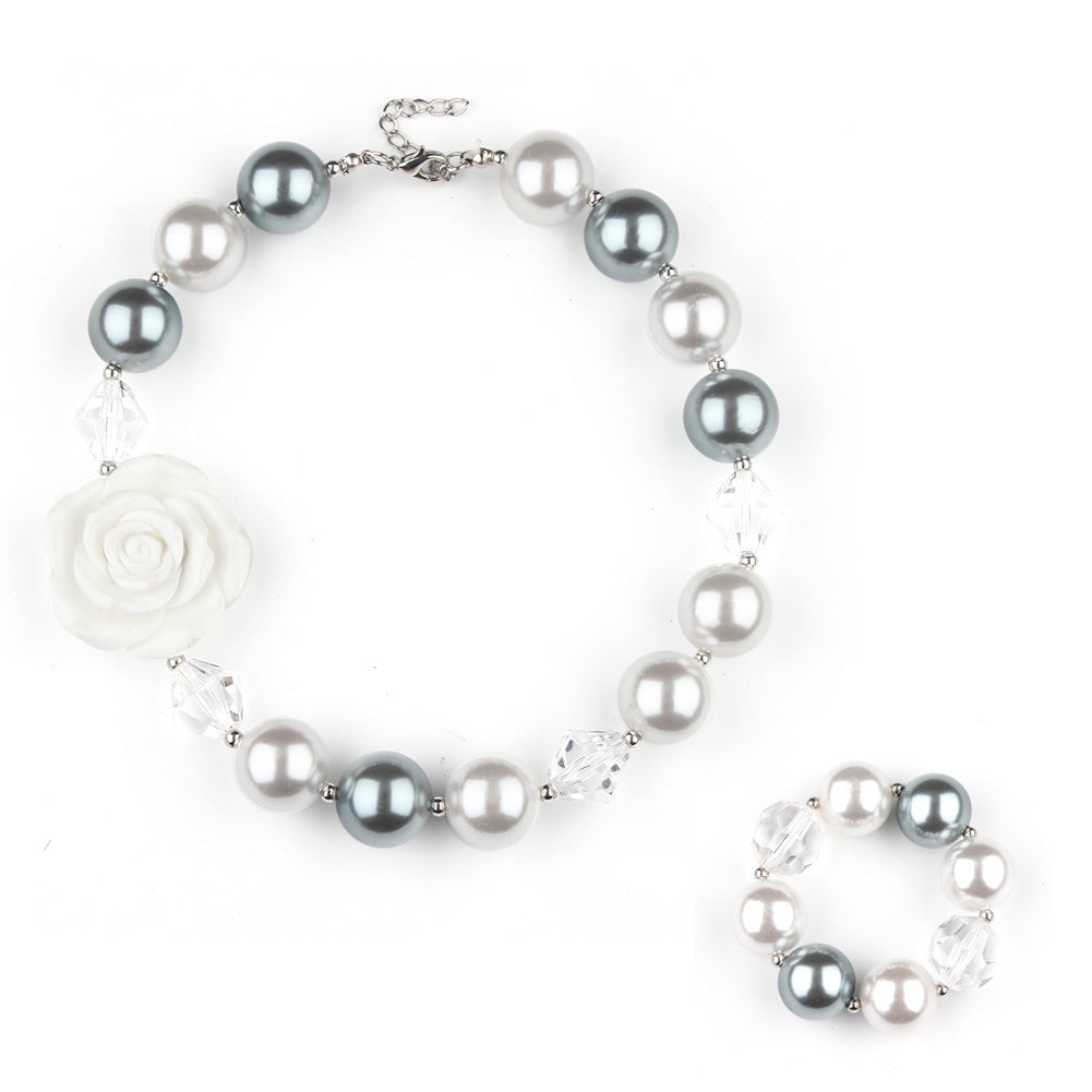 Girl's Silver & White Chunky Bubble Gum Necklace Set