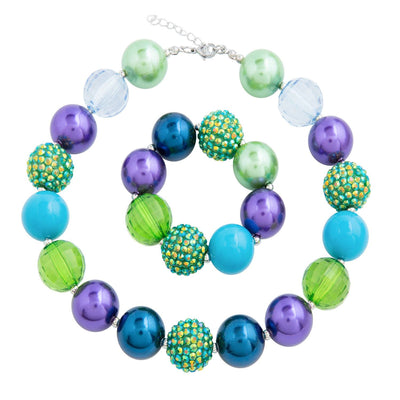 Girl's Chunky Blue, Purple & Green Bubblegum Necklace Set