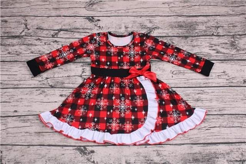 Girl's Buffalo Plaid Christmas Twirl Dress