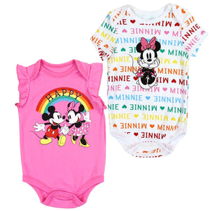 "Infant Girl's 2-Pack ""Happy"" Rainbows Minnie Mouse Romper Set"
