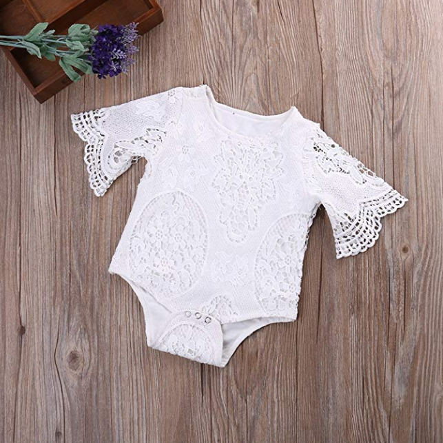 Girl's Infant  Lace Ruffle Sleeve Romper