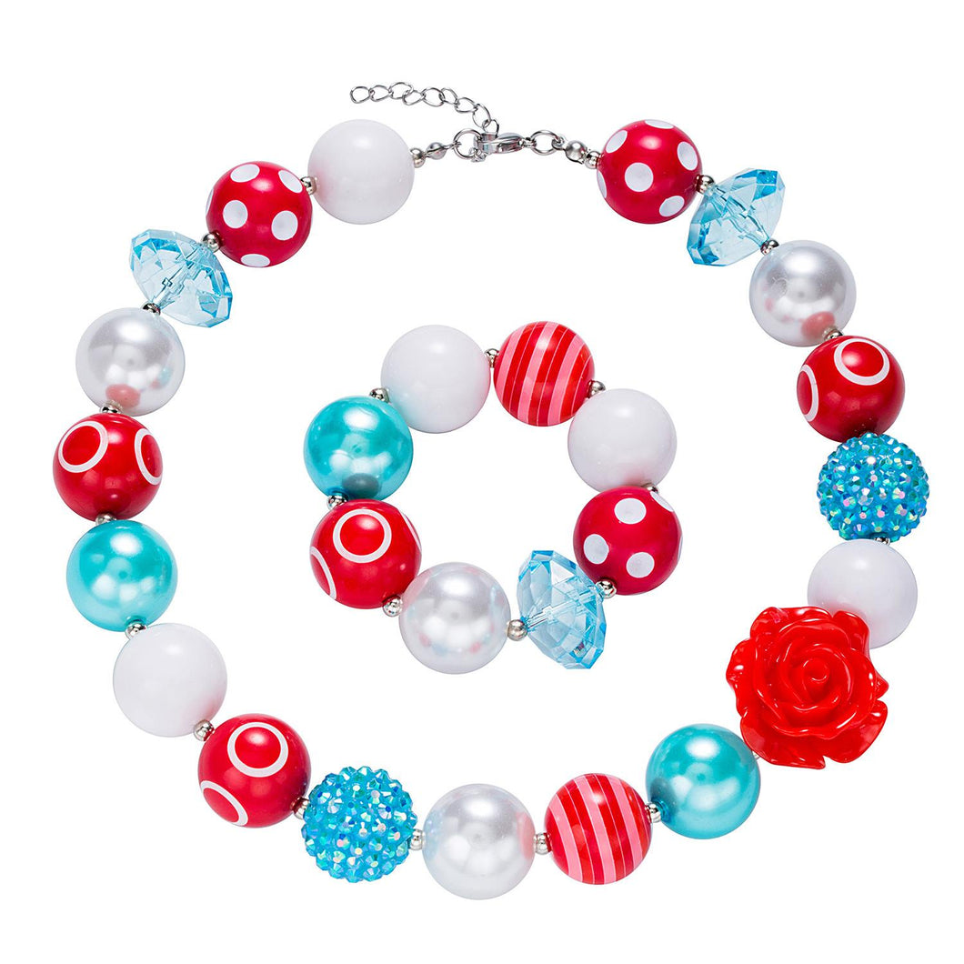 Girl's Chunky  Rose, White & Blue Bubblegum Necklace Set