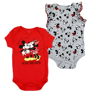"Infant Girl's ""Heartbreaker"" Minnie Mouse 2-Pack Rompers"
