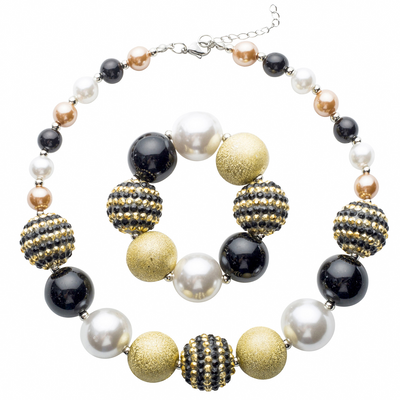 Girl's Chunky Black & Gold Bubblegum Necklace & Bracelet Set