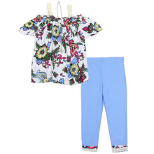 Girls Blue Floral 2PC Legging Set w/Butterfly Necklace