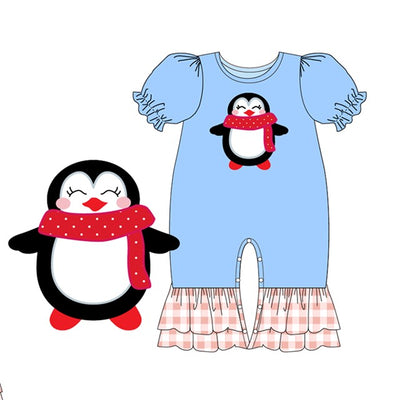 Infant Girl's Winter Penguin Romper