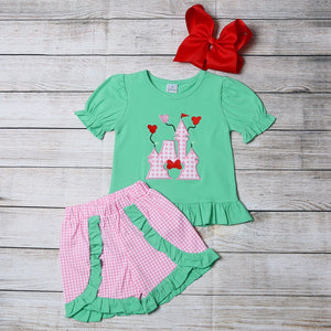 "Girl's ""Mickey's Castle"" 2PC Short Set"