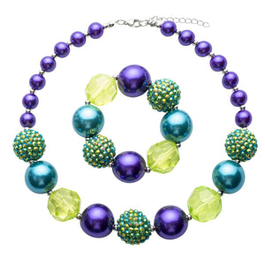 Girl's Chunky Purple & Green Bubblegum Necklace Set