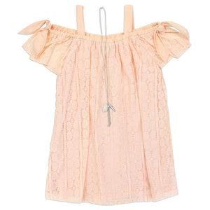 Girl's Lace Off Shoulder Dress - Blush/Pink