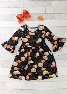 Black & BOO Pumpkin Twirl Dress
