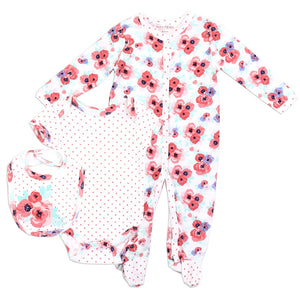 Infant Girl's Coral & Pink Floral 3PC Coverall Set