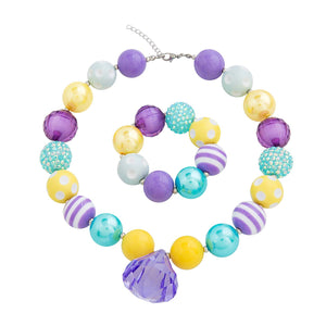 Girl's Chunky Spring Colors Bubblegum Necklace Set