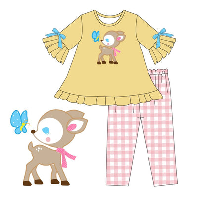 Girl's  Baby Deer & Butterfly 2PC Tunic Set