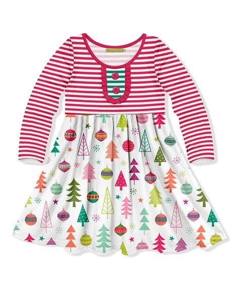 Girls Multicolor Christmas Ornament Twirl Dress