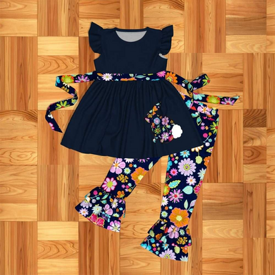 Girl's Navy & Floral Bunny 2PC Tunic Set