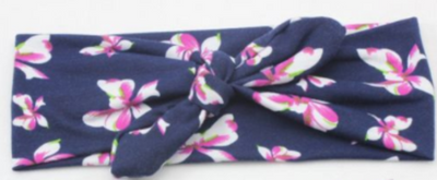 Girl's Navy & Floral Knotted Headband