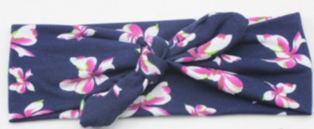 Girl's Knotted Headband- Navy Floral