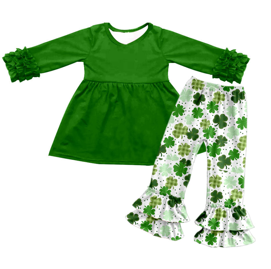 Girl's Shamrock 2PC Ruffle Pants Set